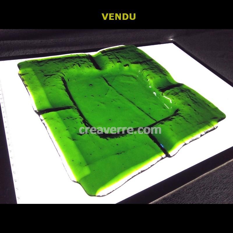 Cendrier à cigare carré vert émeraude translucide verre fusionné 27 cm, épaisseur 6 mm