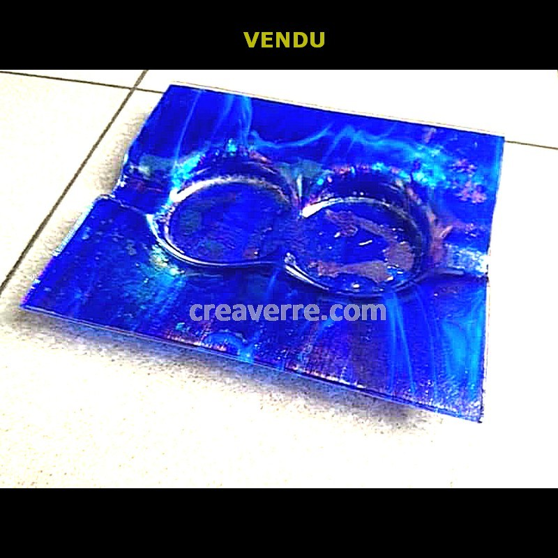 Cendrier à cigare bleu cobalt opaque irisé verre fusionné
