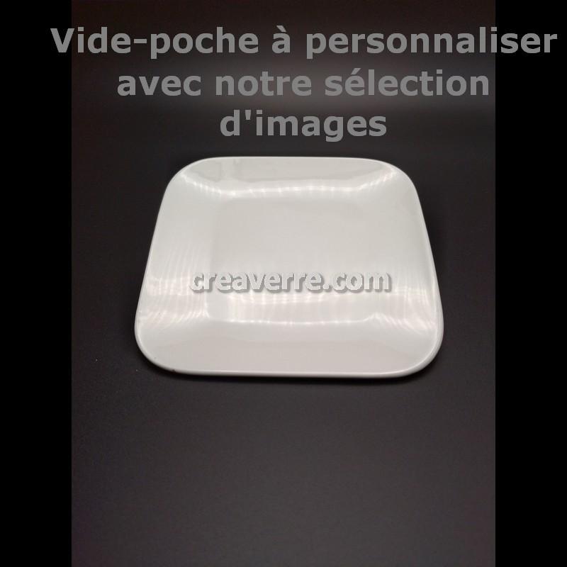 VIDE POCHE PORCELAINE BLANCHE CARRÉ COINS ARRONDIS, 15 CM, gravure laser gris/noir