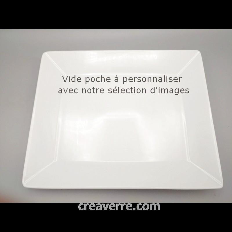 Vide poche rectangulaire porcelaine blanche 30 x 30 cm déco gris / noir gravée au lase