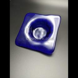 Support bougie / mini vide poche verre bleu cobalt Murano