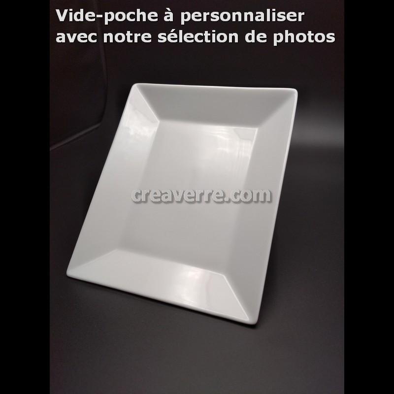 Vide poche rectangulaire porcelaine blanche 17 x 21 cm déco noire au choix gravée au laser